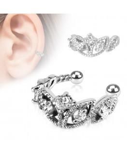 faux piercing oreille couronne, diadème avec strass blanc