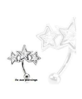 piercing arcade triple étoiles blanches
