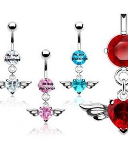 piercing nombril pendant coeur avec ailes d'ange