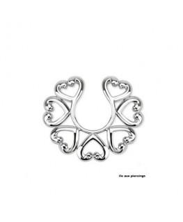 faux piercing téton multiples coeur