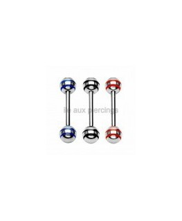 3 piercings langue barbell stripe rayure rasta