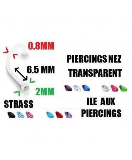 Piercing nez transparent bio flexible strass fin