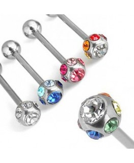 Piercing langue barbell multi strass