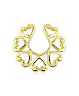 faux piercing téton sein poitrine mamelon multiple coeur couleur doré