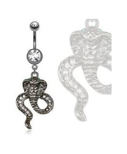 Piercing nombril avec cobra imitation pierre hématite et serti strass blanc et yeux vert