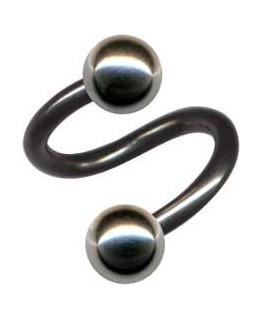 Piercing spirale tragus oreille boule acier grise
