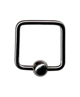 Piercing anneau carre arrondi boule acier