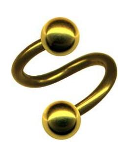 piercing spirale double boule acier couleur doré