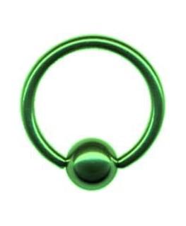piercing anneau levre tragus teton acier boule vert