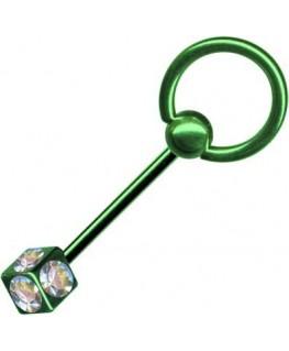 piercing anneau vert langue esclave cube strass blanc