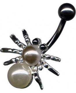piercing nombril araignée avec 2 perles UV synthétiques spider