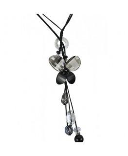 collier en verre papillon noir et blanc