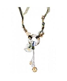 collier en verre anneau et coeur