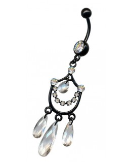 piercing nombril chandelier pendant acier couleur noir strass blanc breloque transparent