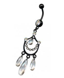 piercing nombril chandelier pendant acier couleur noir strass blanc breloque transparent