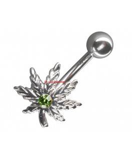 piercing nombril feuille de cannabis strass vert