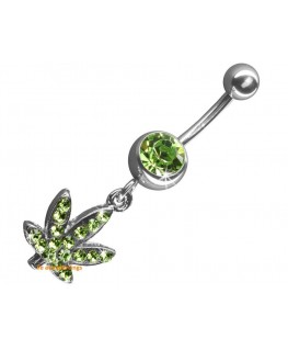 piercing nombril cannabis strass vert bijou pendant rodium