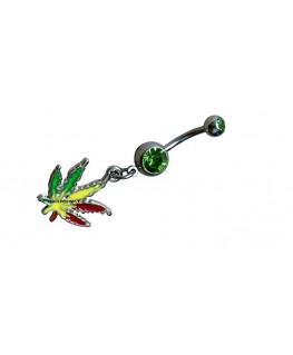 piercing nombril cannabis strass vert bijou pendantif feuille rouge jaune vert weed joint marijuana