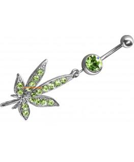 Un piercing nombril belle feuille pendent de cannabis a fumer marijuana weed rasta