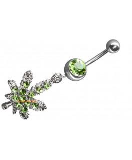 Piercing nombril cannabis avec strass vert percage ventre marijuana