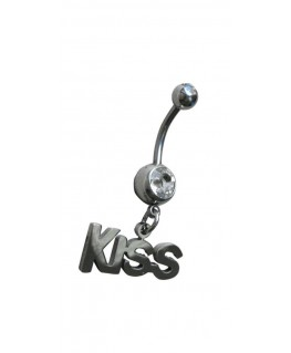 Piercing nombril KISS strass blanc