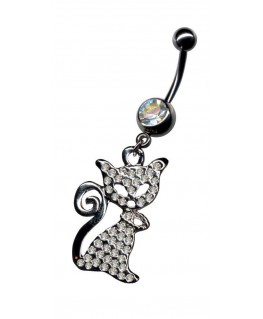 piercing nombril chat strass blanc