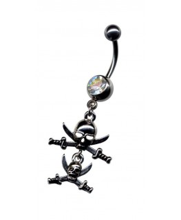 piercing nombril gothique double tete de mort