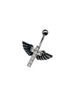 piercing nombril aile croix multi strass blanc gothique bijoux