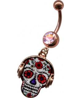 piercing nombril tete de mort avec casque couleur rose doré