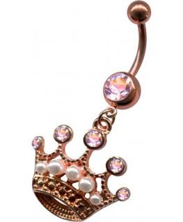 piercing nombril couronne couleur doré rose