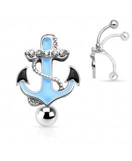 Piercing nombril ancre marine strass blanc noir bleu inversé