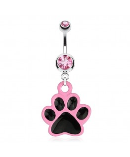 Piercing nombril chat animal patte rose noir