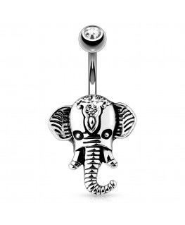 Piercing nombril animal tete d elephant strass blanc acier bijou style indou