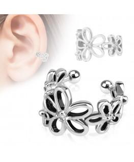 Faux piercing oreille circulaire à fleurs