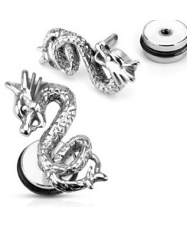 faux piercing dragon chine plug ecarteur d oreille homme femme lobe acier