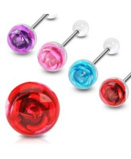 Piercing de la langue boule transparente barbell acier grosse rose fleur