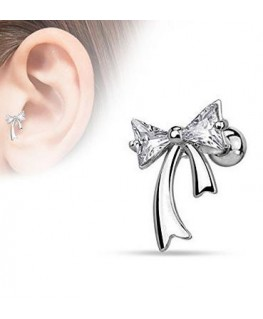 piercing oreille noeud triangle strass blanc
