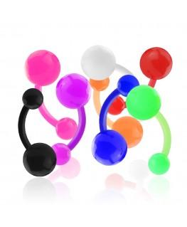 Piercing nombril boule acrylique couleur petant