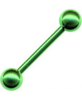 Piercing langue barre boule verte bouche vert