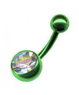 piercing nombril couleur vert simple strass blanc