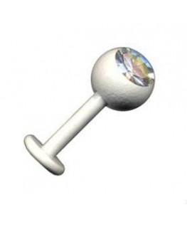 piercing labret tragus boule acier strass blanc