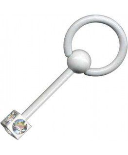 piercing langue teton barre acier anneau cube strass blanc esclave