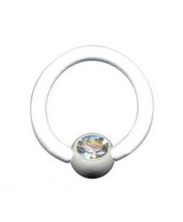 piercing anneau levre tragus teton acier boule blanc strass blanc