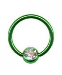piercing anneau levre tragus teton acier boule vert strass blanc