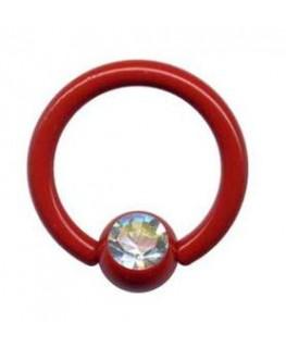 piercing anneau levre tragus teton acier boule rouge strass blanc