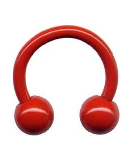 piercing fer a cheval circulaire acier rouge boule