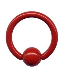 piercing anneau levre tragus teton acier boule rouge