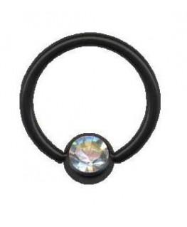 piercing anneau boule acier noir strass blanc
