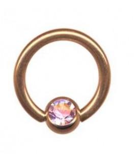 piercing anneau levre tragus teton acier boule couleur doré rose strass blanc coloré