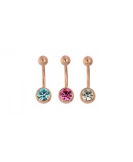 Piercing nombril simple strass blanc couleur rose doré